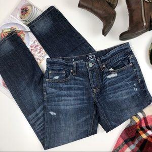 LOFT dark wash distressed boyfriend jeans